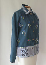 BOBBIE BROOKS Button Front EMBROIDERED Flowers Gingham Trim JACKET  Size S