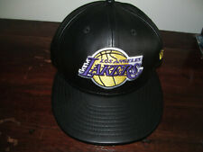 NEW BLACK TEAM LEBRON JAMES LA LOS ANGELES LAKERS FAUX LEATHER FITTED CAP-7 3/8