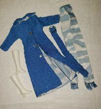 Vintage Barbie Clone Blue Trench Long Jacket Belt Scarf Boots Quality Hi Fashion