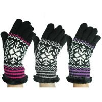 ROCKJOCK WOMEN LADIES GIRL SNOW FLAKE KNITTED WINTER THERMAL INSULATED GLOVES