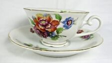 Spoto China Occupied Japan Tea Coffee Cup Saucer Set Floral Red Blue Gold Trim
