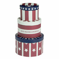 Patriotic Stacking Boxes - Home Decor - 3 Pieces
