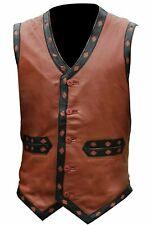 Men's Warriors Movie Brown Biker Real Leather Vest Jacket