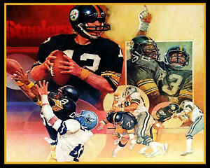 Vintage NFL Pittsburgh Steelers REPRINT Art  Picture Color 8 X 10 Photo
