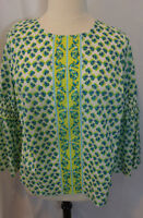Crown & Ivy 1X Top Sea Horse Print Bell Sleeves Tropical Curvy Plus Summer Beach