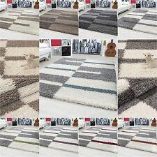 tapis Shaggy Shaggy gris rayé vert rouge tapis beige de salon