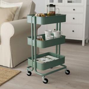 IKEA RASKOG 3-Tier Rolling Utility Cart Gray-green Kitchen Bath Storage Trolley
