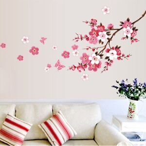 Large Pink & White Peach Blossom  Butterfly Wall Stickers  Home Room Décor