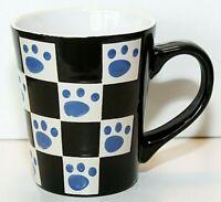 Pawprint Dog Cat Lover Ceramic Cup Mug Checkerboard Black White Blue EUC