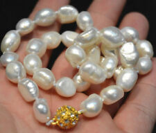 """Natural 9-10mm White Irregular Real Baroque Pearl Necklace 18"""" 18KGP Clasp"""