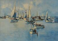 "Sid Barron Painting Sailing Boats Canadian Listed Art 16x23"" Marine Landscape"