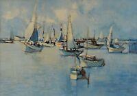 Sid Barron Painting Sailing Boats Marine Landscape Canadian Listed Artist