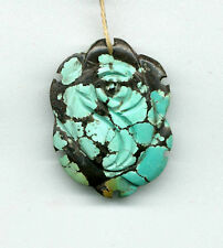 CARVED HUBEI TURQUOISE FLOWER PENDANT BEAD - 7151 - 38x29x7MM