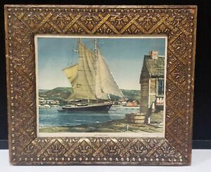 ANTIQUE ARTS AND CRAFTS GILT GOLD PICTURE FRAME CARVED WOOD AT ANCHOR SHIP PRINT