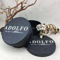 2 ADOLFO Vintage 1960s Wig Hat Boxes EUC Abbott Tresses NY Black Round Plastic