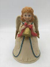 """Vintage Christmas Homco Angel W/ Christmas Bell 5"""" Tall-Very Nice Patina"""