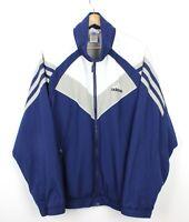 Adidas 90s Vintage Blue Tracksuit Wavy Zip Up Oversized Jacket Top - 44/46 - XL