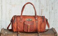 Vintage Genuine Weekend Bag Leather Men Travel Luggage Adjustable Strap Duffel