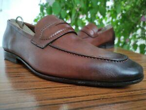 SALVATORE FERRAGAMO Mens Brown Leather Penny Loafers Sz US 7 EEE