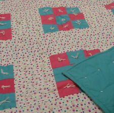 Handmade Quilt Floral-Patchwork Hand-Tied-Quilt Pink & Blue 60X78