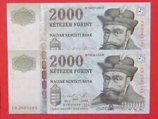 AUSTRIA ( 1998 RARE CONSECUTIVE SERIAL ) 2 X 2000 FORINT RARE BANK NOTES ,aUNC