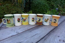 Hand Painted Chicken Mug Hand Crafted Collector Hobby Home Art Coffee Shop Set 7