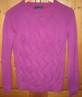 Lands' End Women's Sweater Drifter Cable Knit Crew Solid Purple Size Medium NEW
