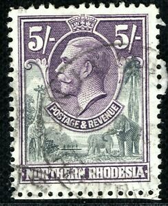 NORTHERN RHODESIA KGV Stamp SG.14 5s GIRAFFE ELEPHANT(1925) Superb Used CBLUE122