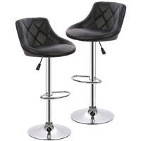 New PU Leather Bar Stools Modern Swivel Dinning Kitchen Chair, Set Of 2