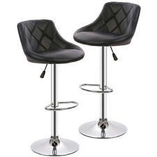 New Pu Leather Bar Stools Modern Swivel Dinning Kitchen Chair, Set of 2