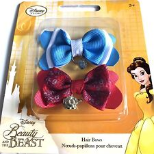 Disney Store Girls Youth Belle Hair Bows 2 Pack Red Blue Beauty and the Beast