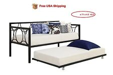 Trundle Guest Kids Bed Black Metal frame Twin size - Bedroom Daybed Home
