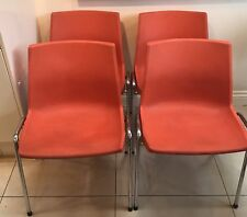 4 OVP Belgian Orange 70's Dining Chairs Mid Century