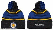NBA Golden State Warriors Mitchell and Ness Speckled Pom Knit Hat Beanie Cap M&N