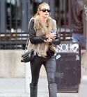 Classical Real Knit Rabbit Fur Vest Gilet with Raccoon Fur Collar Waistcoat Lady