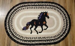 """Stallion Horse Rug 20"""" x 30"""", Braided Jute Earth Rugs, Ranch Style, New"""