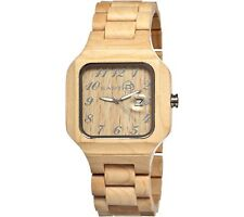 Earth SESO01 Men Khaki Wood Large Square Testa Eco Friendly Fashion Watch $199