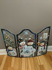 2004 Enchanted Forest Snowman Christmas Snow Scarf Fireplace Screen Cover
