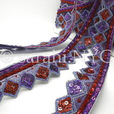 Purple Zigzag Sequin Beads Fabric Trim trimming,Embellishment,co stume,pageant