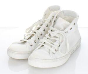 V63 $575 Women's Sz 38 M Saint Laurent Malibu Canvas High Top Sneakers In White