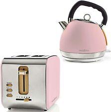 Retro Design Frühstücksset Toaster + Wasserkocher Holz Design + Edelstahl rosa