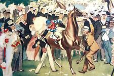 David Low RAKE at RACETRACK HORSE RACE Jockey Betting 1934 Art Deco Print Matted