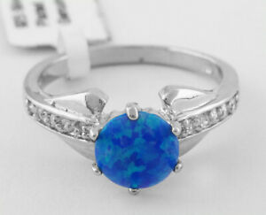 GEMSTONE BLUE 1.10 Cts OPAL & WHITE SAPPHIRE RING Size 6.75