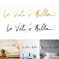 "PVC Removable Wall Sticker Decal Italian ""Life Is Beautiful"" Home Room Art Decor"
