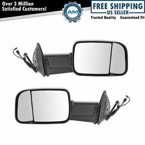 Towing Mirrors Power Folding Heated Signal Puddle Light Pair Set For 13-18 Ram