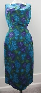 Vintage Fitted Cocktail Dress Blue, Purple, Green Abstract Fruit and Flower