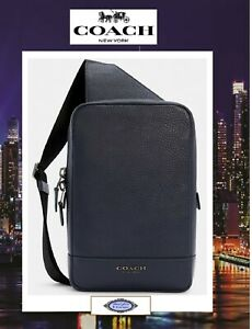 NWT COACH Men's TURNER Sling Pack Crossbody Bag In MIDNIGHT JEWEL BLUE Leather