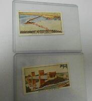 1937 CWS Cigarette Cards Famous Bridges #5 Oakland Bay #19 Britannia Tubular FN-