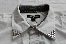 ANDREW CHARLES Mens WHITE CONTRASTING STUDDED COLLAR & CUFFS LS SHIRT NWT L  $70