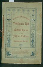 Vermählungs-Feier 1901 Wilhelm Kaiser mit Helene Welches Saarbrücken Hochzeit